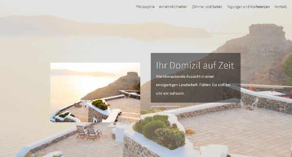 Beispiel-Design für eine Hotel-Website