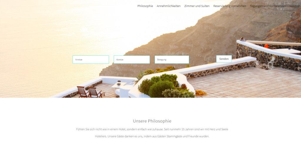 Beispiel Webseite für ein Appartement
