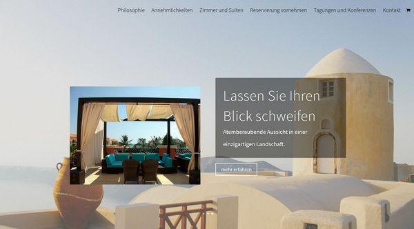 Startseite einer Website für eine Ferienwohnung