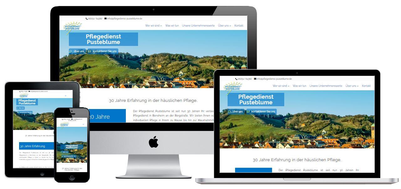 Webseite Pflegedienst Pusteblume GmbH Bensheim
