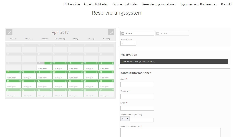 Reservierungssystem für Ferienwohnungen mit Buchungsfunktion