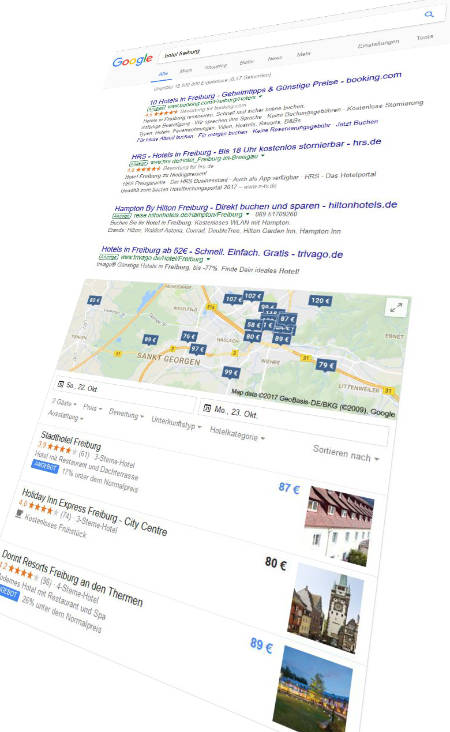 Google Suchergebnis-Seite mit Adwords-Anzeigen